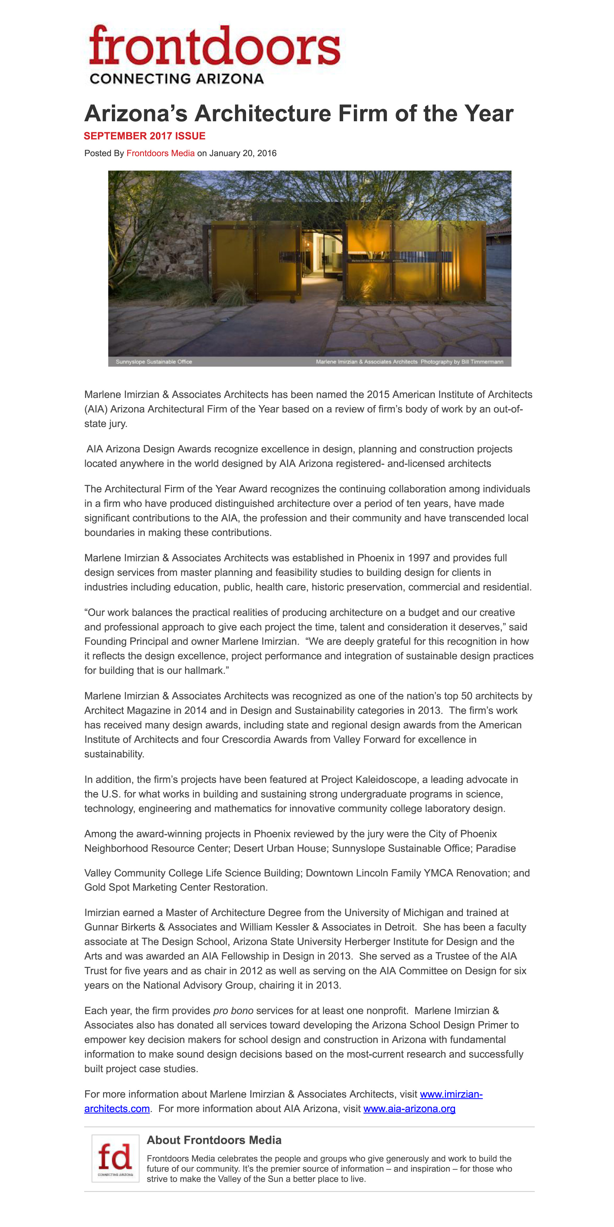 Imirzian Architects | Frontdoors News: Arizona's
